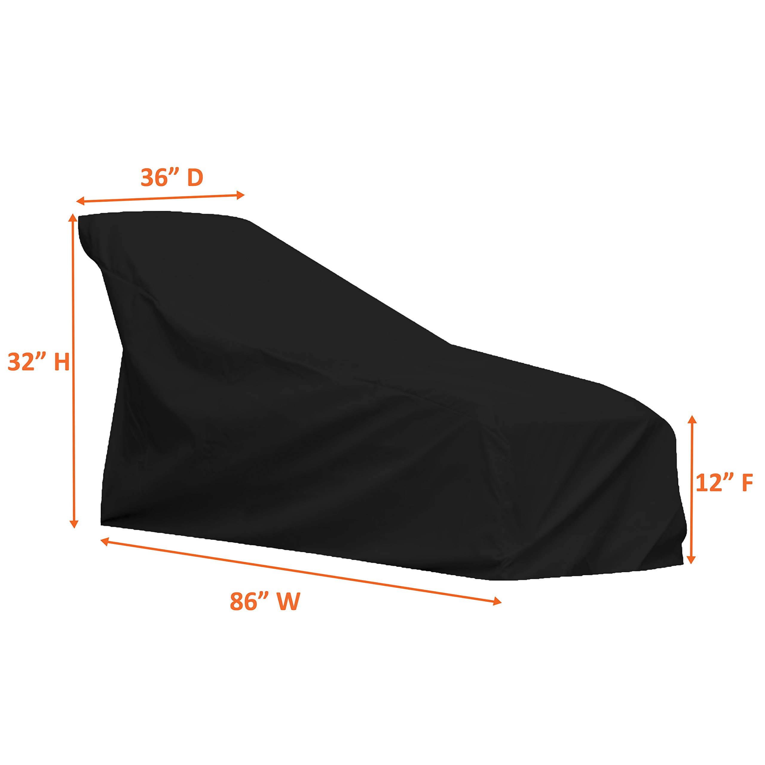 COVERS & ALL Chaise Lounge Cover 12 Oz Waterproof - 100% UV & Weather Resistant Outdoor Chaise Cover PVC Coated with Air Pockets and Drawstring for Snug Fit (86W x 36D x 32H, Black) by COVERS & ALL (Image #3)