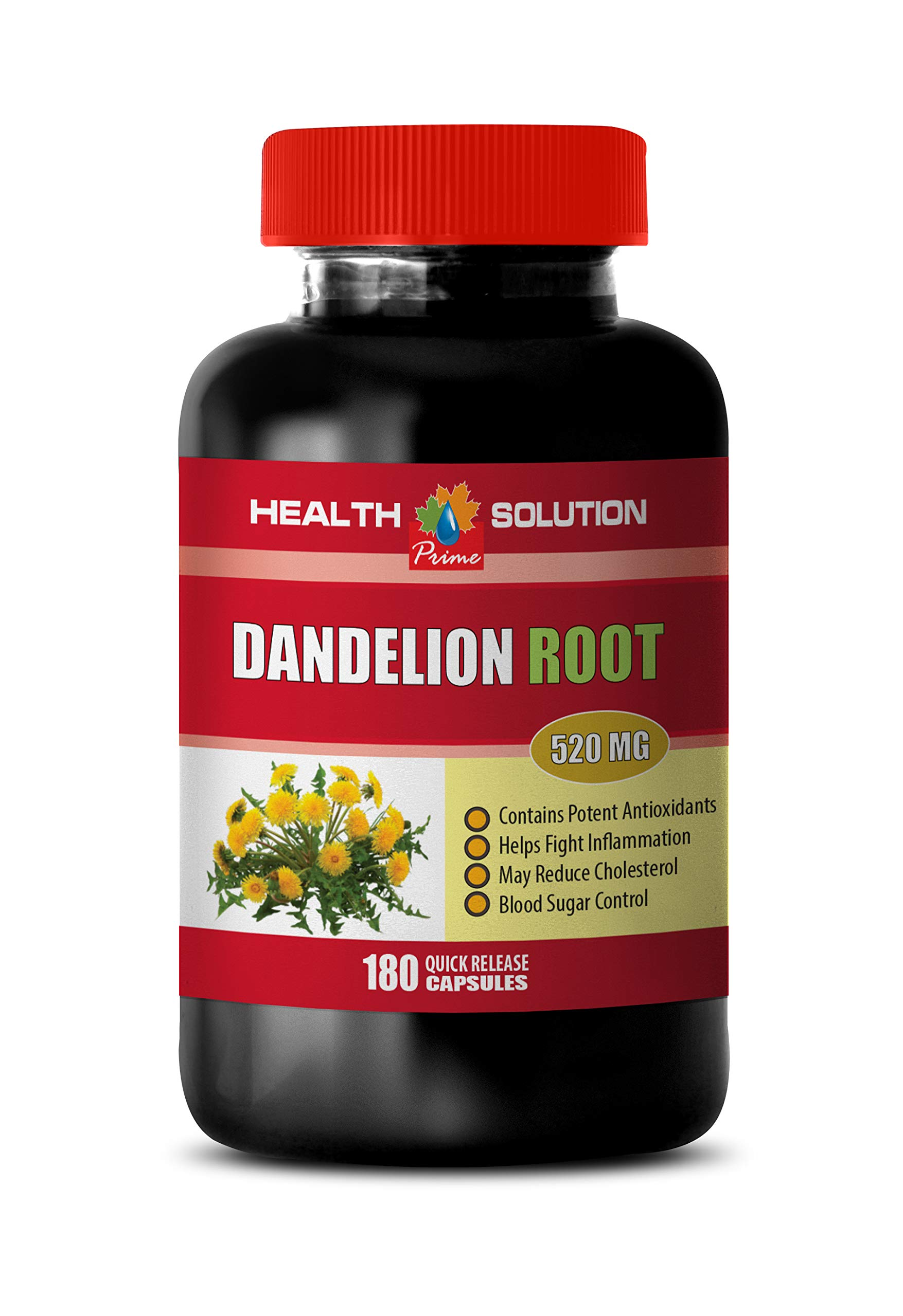 Herbal Diuretic & Anti-inflammatory Pill - Dandelion Root Extract 520Mg - Dandelion Root Weight Loss - 1 Bottle 180 Capsules