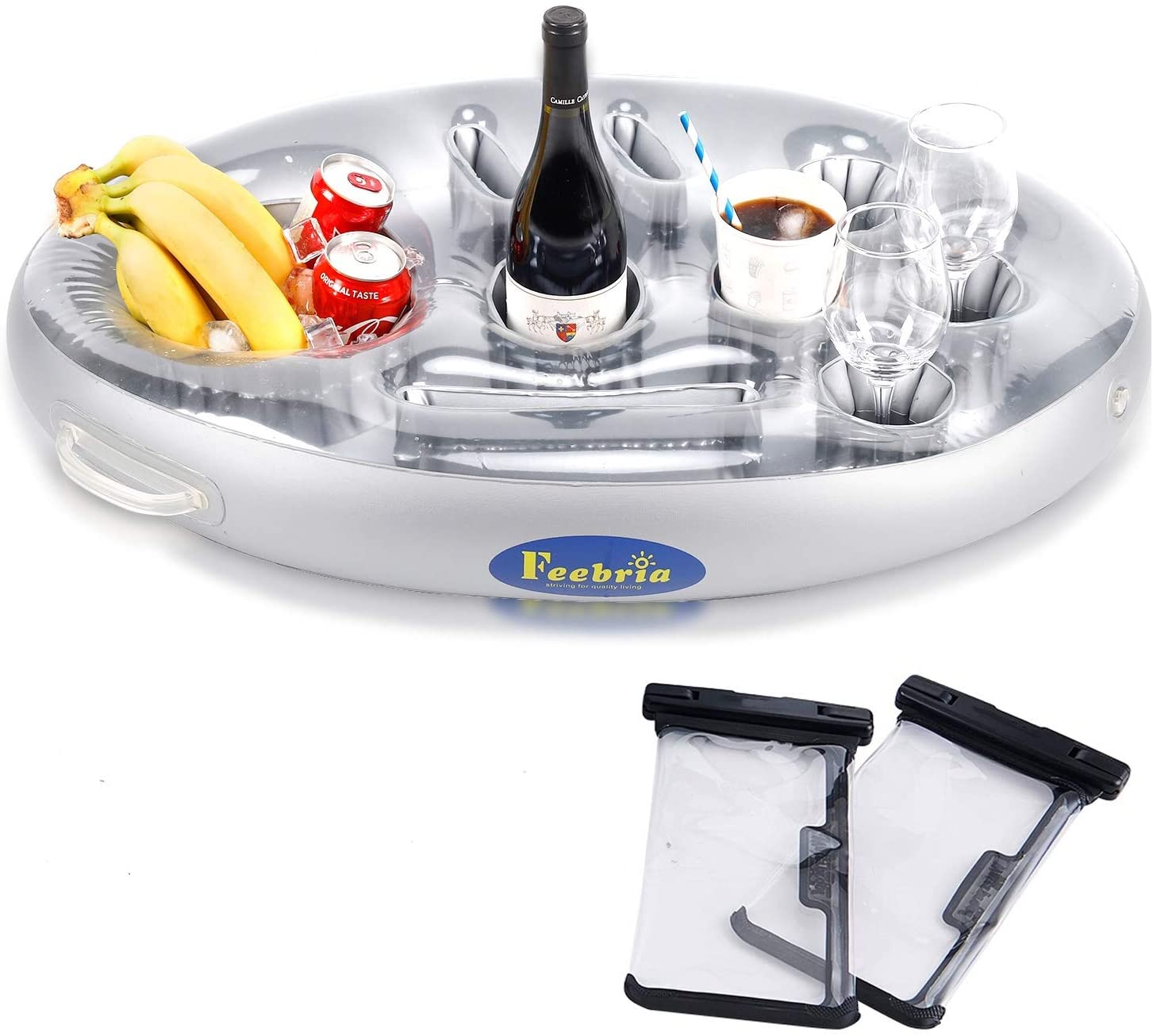 FEEBRIA Inflatable Floating Drink Holder with 9 Holes Large Capacity & Transparent Material,Drink Float for Pool Party Beach (Pouch)