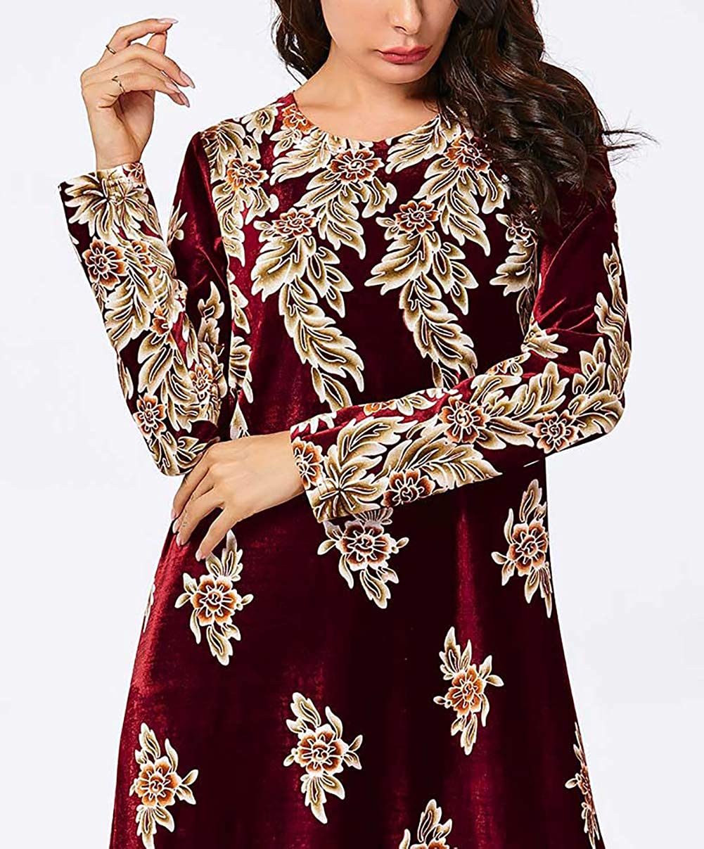 Donne Musulmane Swing Maxi Abito Signore Stampa Floreale Velluto Caftano Manica Lunga Dubai Abaya Elegante Taglia Grossa Vestito da Sera