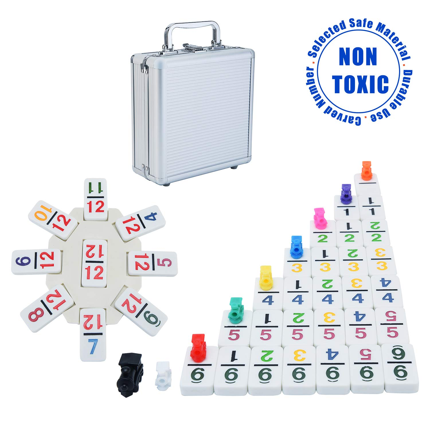 Ksamor Dominoes Set - Mexican Train Dominoes with Numbers, Colored Double 12 Dominoes Set Well Painted with Aluminum Case, 91 Tiles for Kids and Families