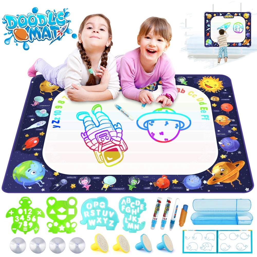 Growsland Water Drawing Mat Kids Toys - Aqua Magic Doodle Mat Mess Free Space Theme Writing Painting Educational Toy Xmas Gift for Age 2,3,4,5,6 Toddlers Boys Girls 39.4'' X 27'' by Growsland