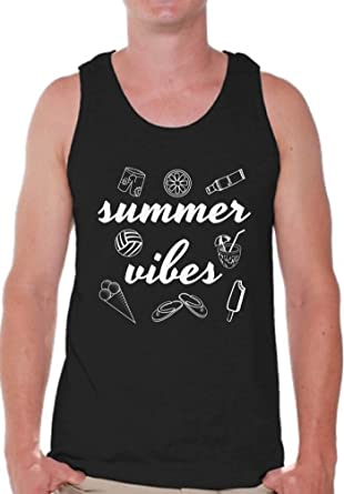 d3df926083e2 Amazon.com  Pekatees Summer Vibes Tank Top Men s Vacation Vibes Tank Beach  Vacation Tshirt  Clothing
