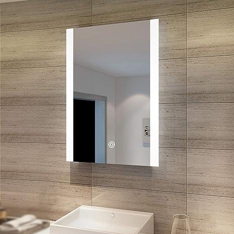 SONNI Badezimmerspiegel mit Beleuchtung 120/×60 cm LED Spiegel Badspiegel Wandschalter Wandspiegel warmwei/ß Badspiegel mit Licht Badezimmerspiegel IP44