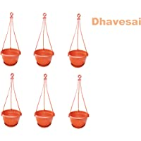 Dhavesai Hanging Pot/Planters, Brown ( Set of 6)