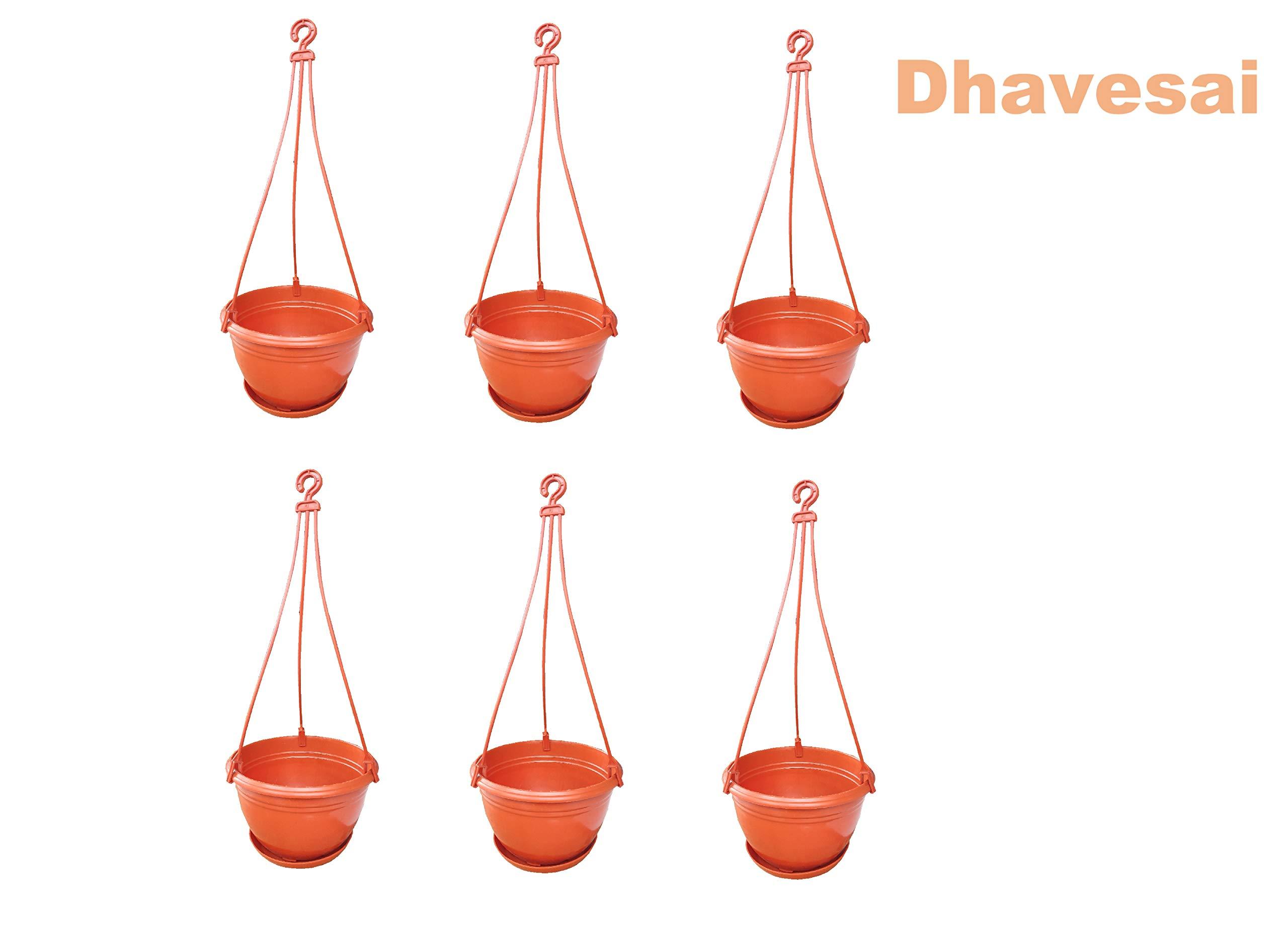 Dhavesai Hanging Pot/Planters, Brown ( Set of 6) product image