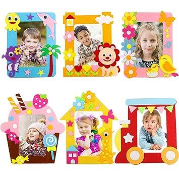 Lavoretti Per Bambini Cornici Per Foto.Yuccer Kit Dai Da Te Creativo Bambini 6 Pcs Cornici Per