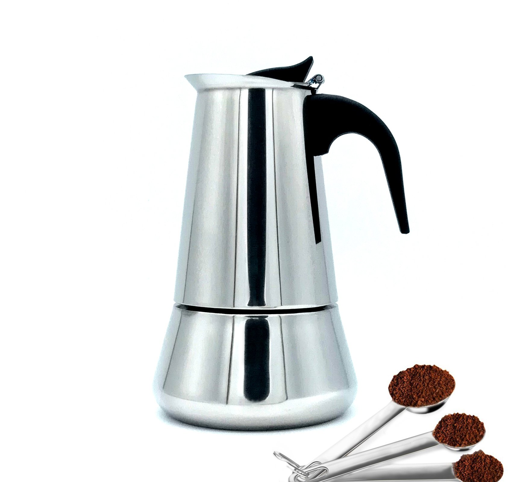 Sprise Stainless Steel Coffee Percolator 6-Cup Stovetop Moka Maker, Stainless Steel Moka Pot Coffee Maker Latte Percolator,10 oz