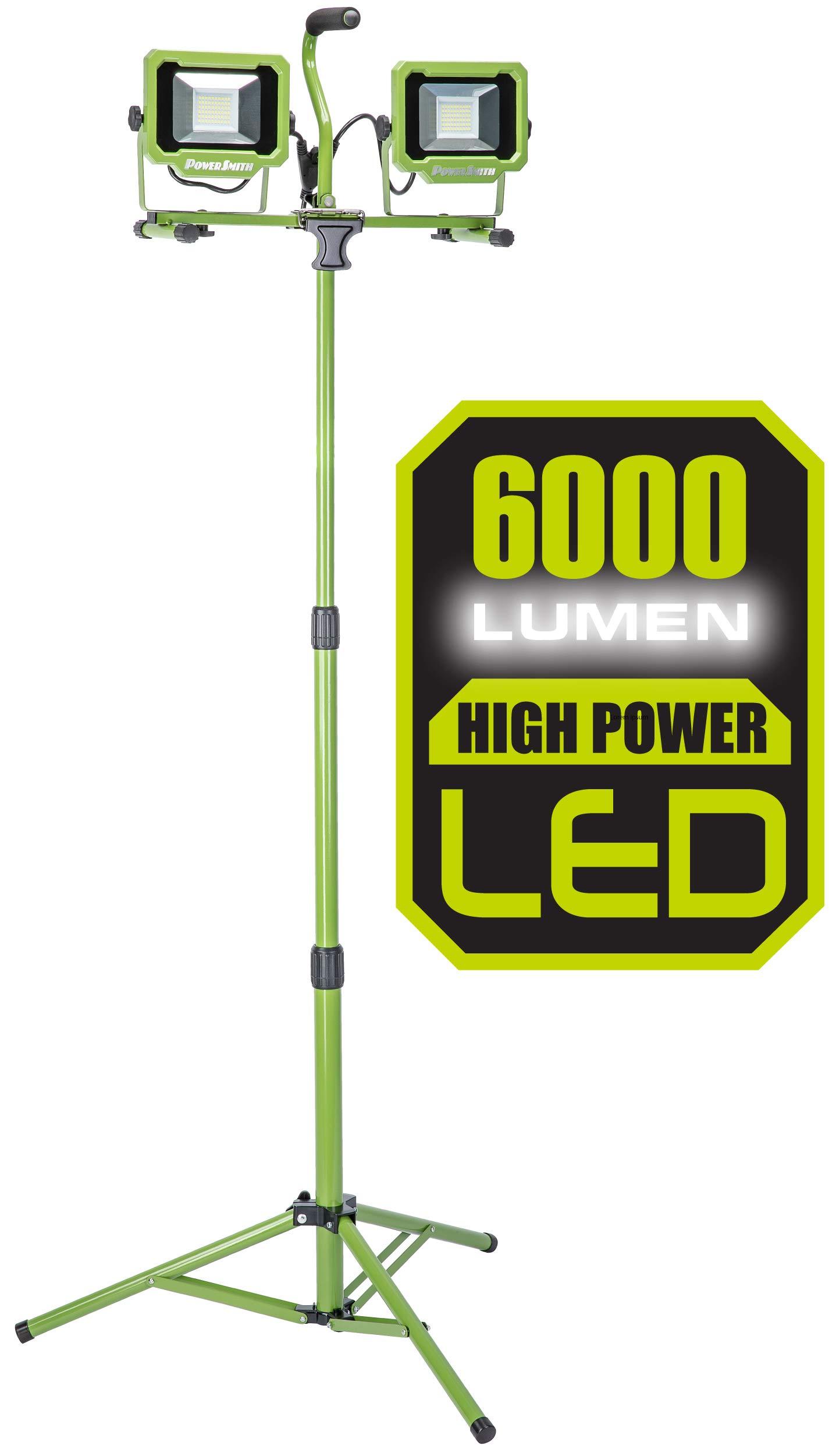 PowerSmith PWL2060TS 6,000 Lumen LED Dual Head work light with Adjustable Metal Telescoping Tripod Green