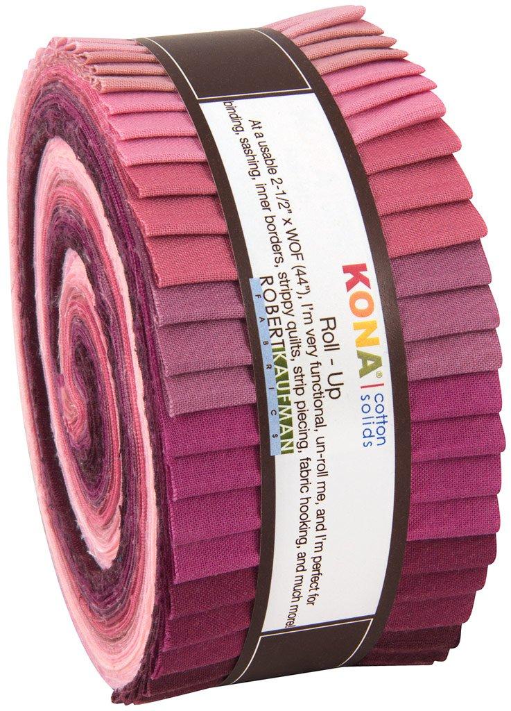 Robert Kaufman Kona Cotton Solids Powder Room Jelly Roll Up, 40 2.5x44-inch Cotton Fabric Strips Robert Kaufman Fabrics RU-435-40