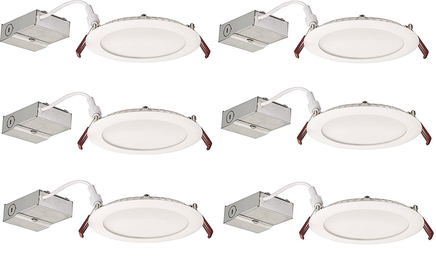 Lithonia Lighting (Pack of 6) 13.6W Ultra Thin 6'' Dimmable Recessed Ceiling Light, 4000K, White - Easy to install - Save time and money - Energy Efficient LED Lighting