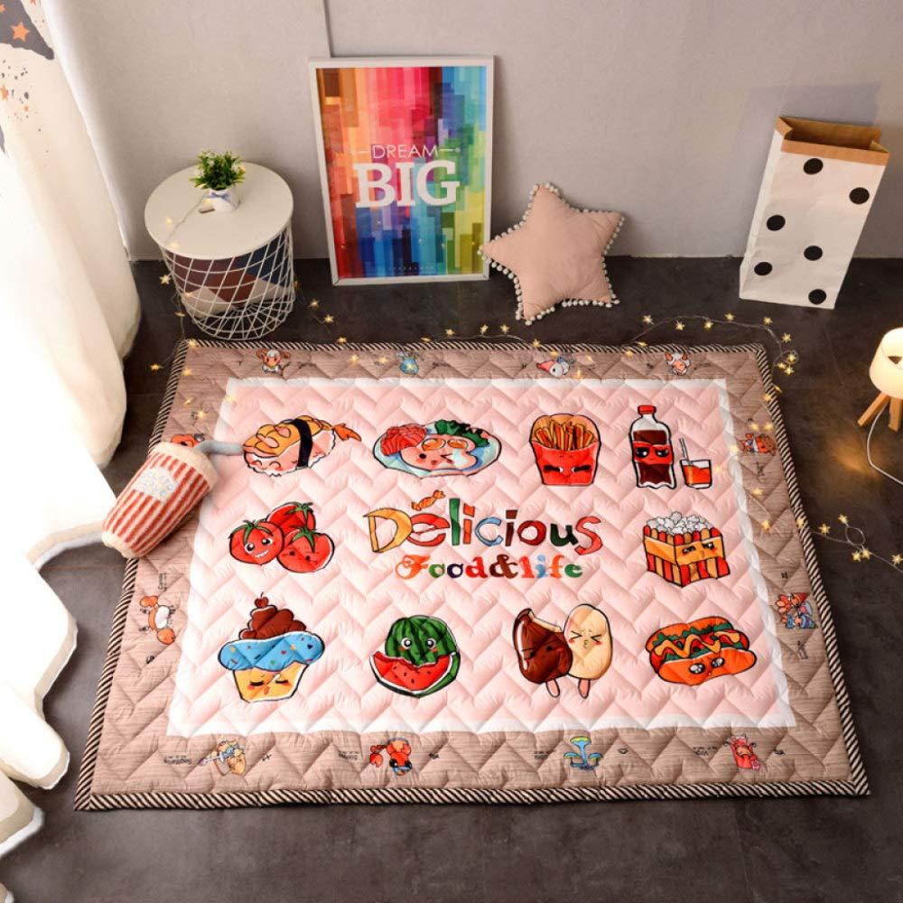 Baby Krabbeln Matte Verdicken Vier Jahreszeiten Spielmatte Carpet Kind Game Pad Decke Picknick Matte, Unterhaltung, Rutschfeste, Weißhe 145  195 Cm,E N