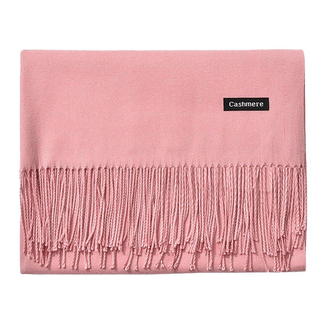 L'vow Women's Soft Cashmere Blend Evening Scarves Pashmina Cape Shawl Wraps Stole (Baby pink)