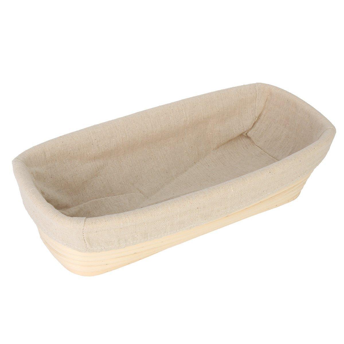 BetterJonny - 12'' Oblong Banneton Brotform Bread Dough Proofing Basket & Liner Combo