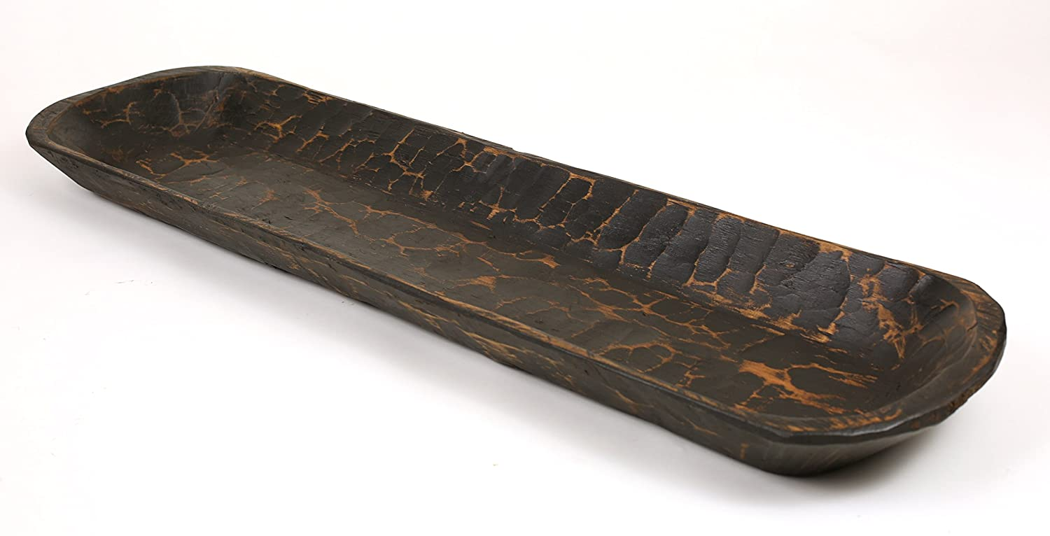 Extra Long Black Stained Rustic Wood Dough Bowl