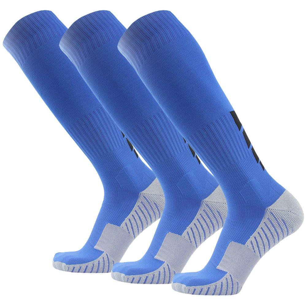 サッカーソックス、3streetユニセックスアスレチック圧縮ソックス1 / 2 / 3 / 4 / 6 / 10ペア B01EA7TNUQ M(Fit For US 8-12)|3-Pairs blue 3-Pairs blue M(Fit For US 8-12)