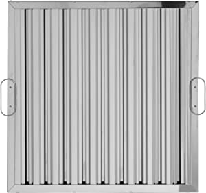 """SIFIM heavy-duty 304 stainless steel mirror finish high efficiency commercial exhaust hood grease baffle filter. UL certified and NSF approved. Dishwasher safe. Nominal size 20""""x20""""x2"""". Factory installed handles."""