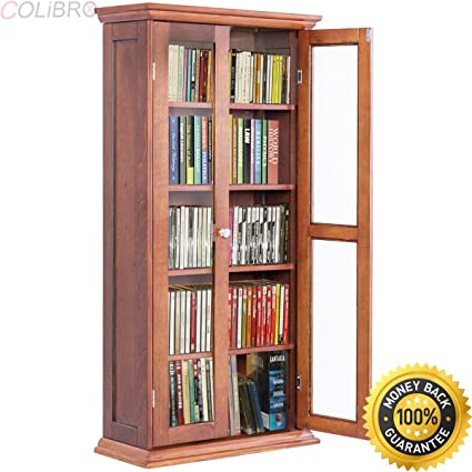 COLIBROX  44.5u0026quot; Wood Media Storage Cabinet CD DVD Shelves Tower Glass  Doors Walnut