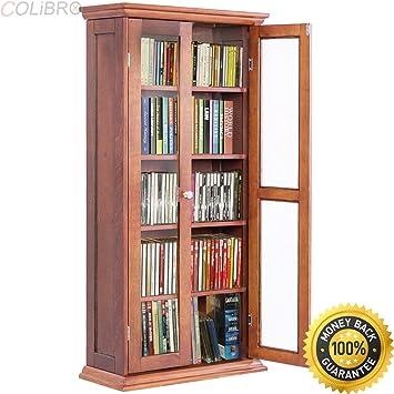 amazon com colibrox 44 5 wood media storage cabinet cd dvd shelves rh amazon com oak cd/dvd storage cabinets wood dvd storage cabinet