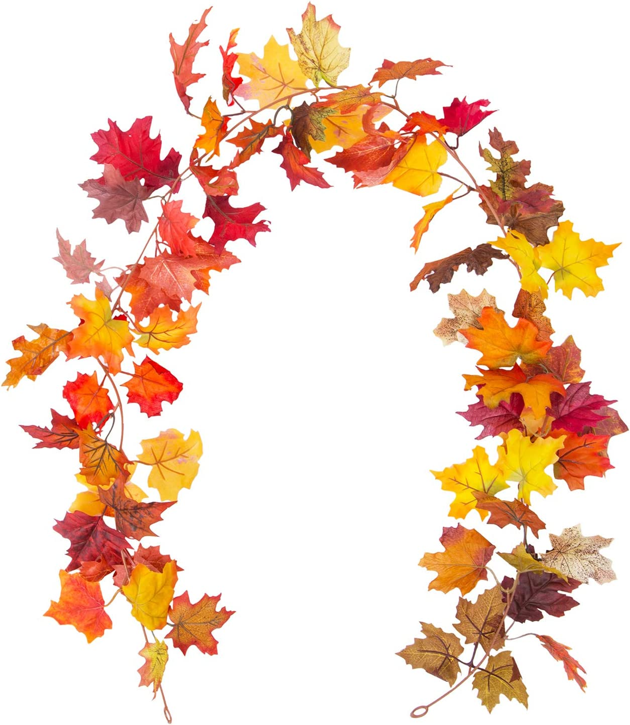 Korlon Fall Maple Leaf Garland, 5.9 Ft Thanksgiving Leaf Garland Fall Decor Artificial Silk Mantel Garland for Autumn Indoor & Outdoor Decor