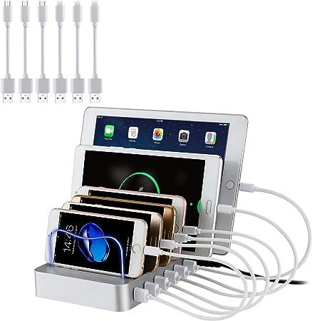 Image of PRITEK Estación de Carga USB con 6pcs Cables Cortos USB Dispositivo Múltiple Estación de Cargador USB para Teléfono Celular Tableta Auricular MP3 MP4 y Otro Dispositivo Habilitado para USB (Plata)