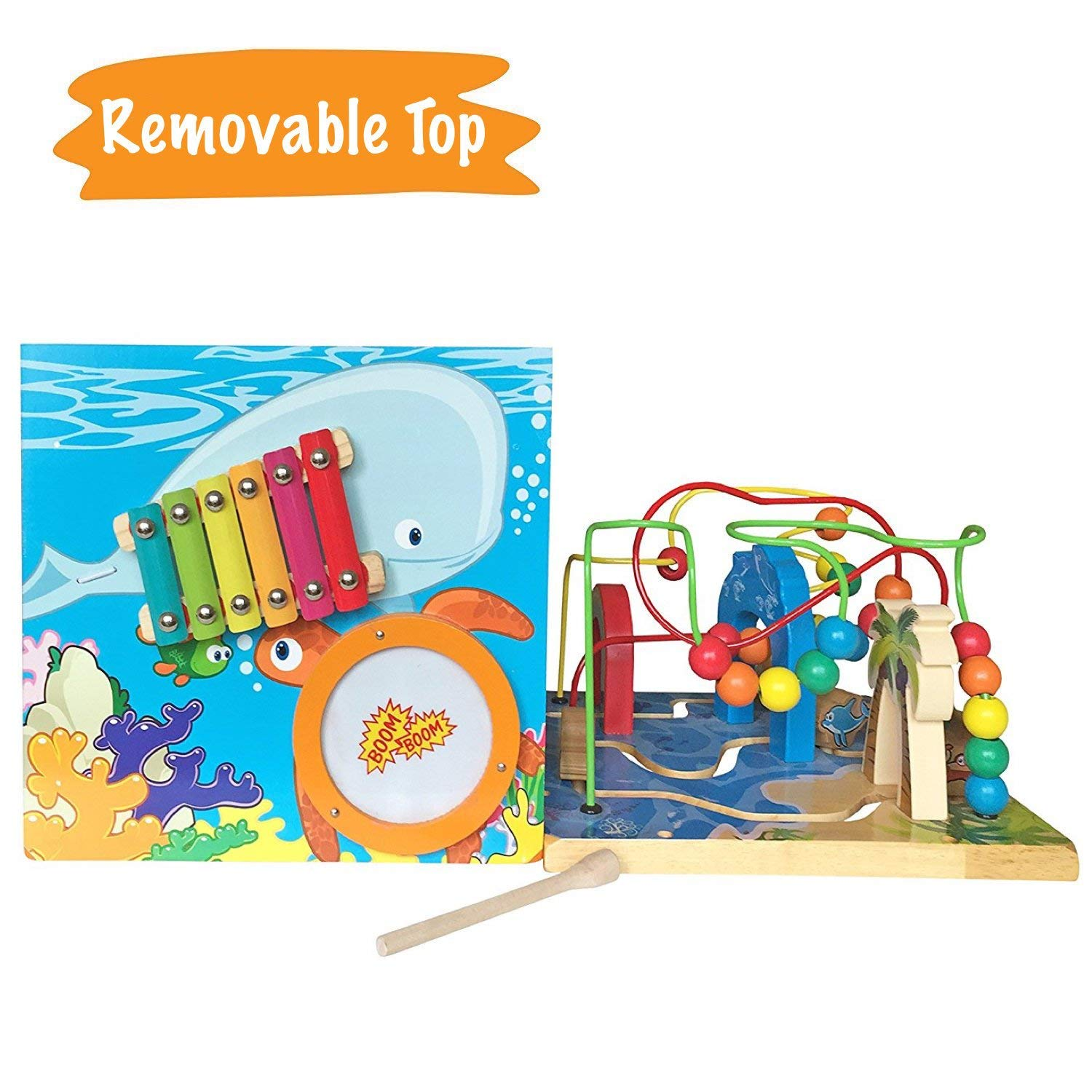 Under The Sea Adventures, Deluxe Activity Wooden Maze Cube - Perfect for Kids Play, Musical Activity, and Toddlers Early Developmental Skills by Pidoko Kids (Image #5)