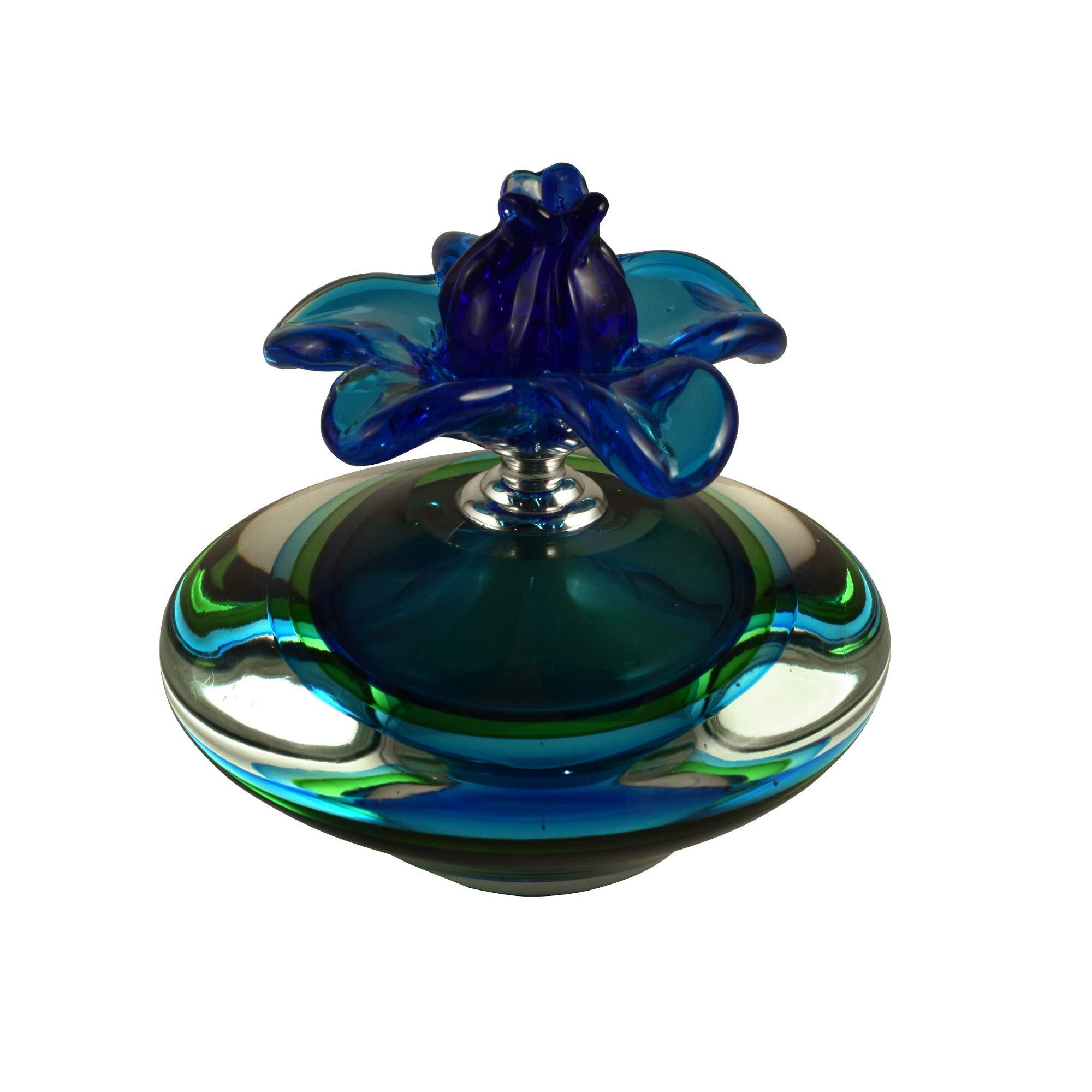 Diva At Home 6'' Blue Farrah Hand Blown Art Glass Perfume Bottle