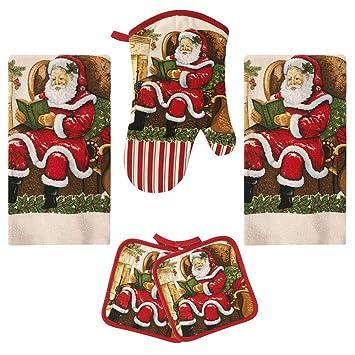 American Mills Christmas Santa 5 Piece Printed Kitchen Linen Set Includes  Towels Pot Holders Oven Mitt