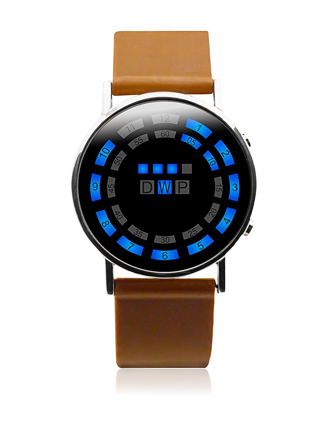 Fun and Play MO.01.0001.11-Reloj LED Unisex, Color marrón