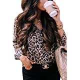 ECOWISH Womens Casual Tops V Neck Leopard Tunic Long Sleeve Button Down Shirts Top