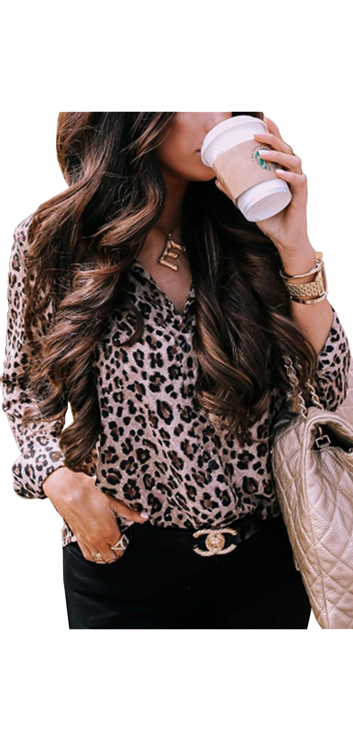 Womens V Neck Leopard Casual Print Tunic Long Sleeve