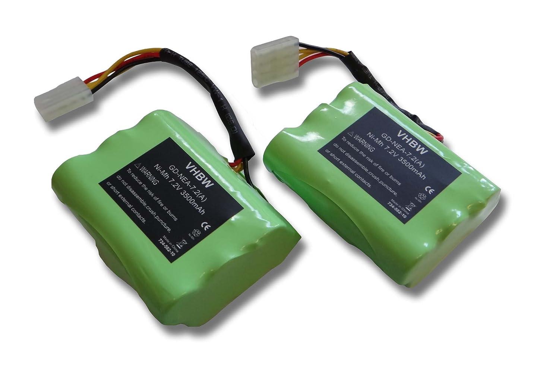 Lot de 2 batteries Ni-MH vhbw 3500mAh (7.2V) pour aspirateurs Neato Robotic XV-11, XV-12, XV-14, XV-15. Remplace batteries: 205-0001, 945-0024.