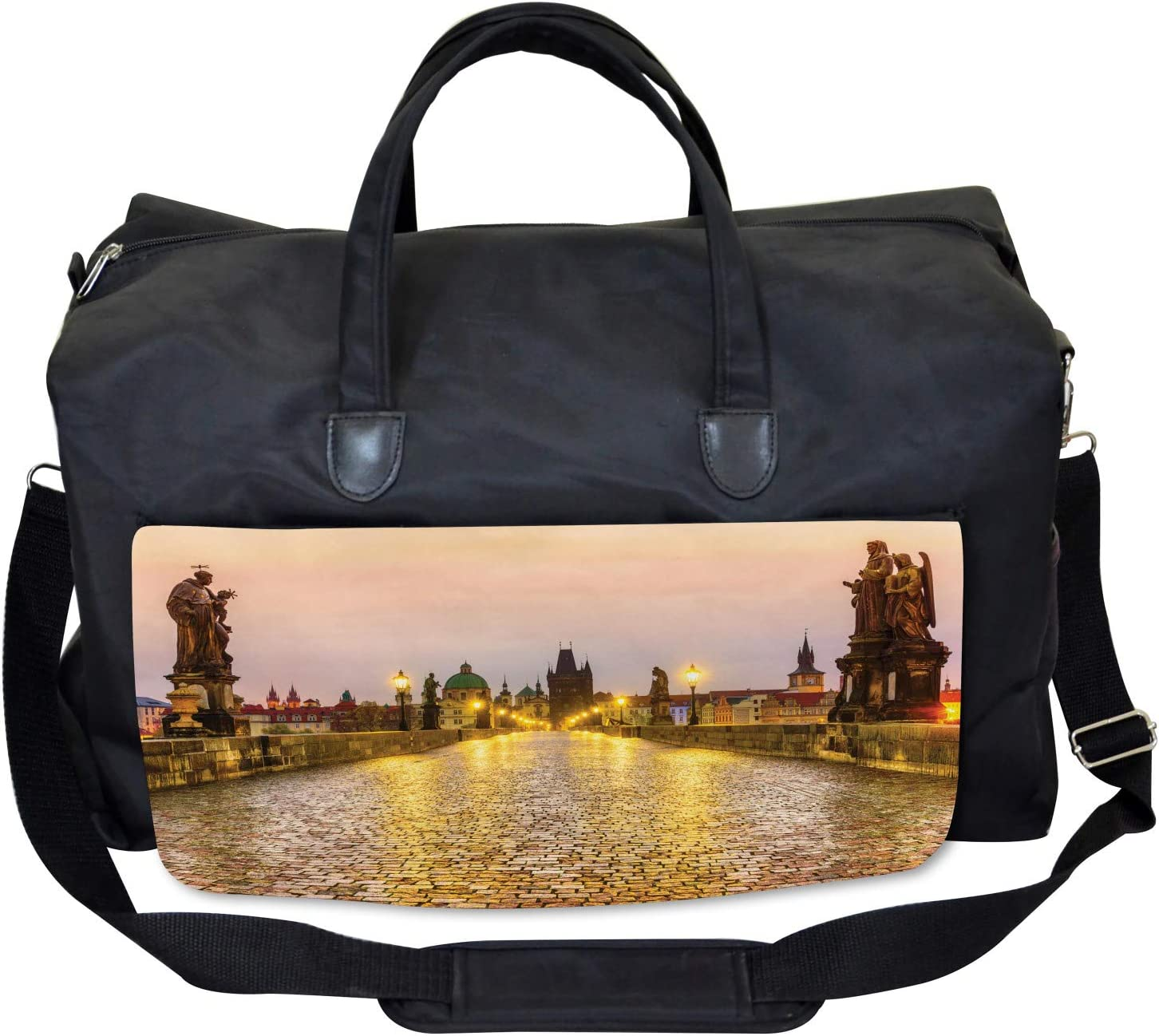 Large Weekender Carry-on Ambesonne Cityscape Gym Bag Old Town in Prague