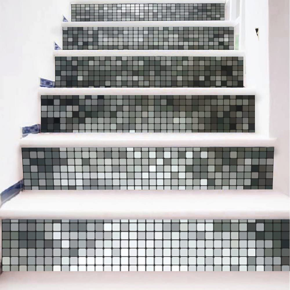 - Yazi Backsplash Tile Stair Stickers DIY Tile Decals Mosaic Silver