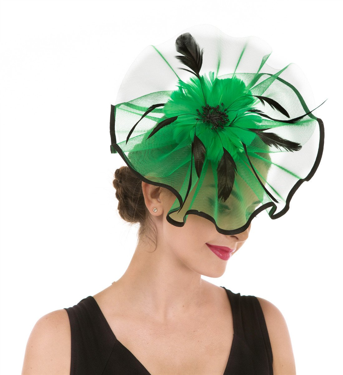 Fascinator Haojing Feather Mesh Flower on a Headband and a Clip Royal Tea Party Derby Headwear for Girls and Women(Hj3-Green)