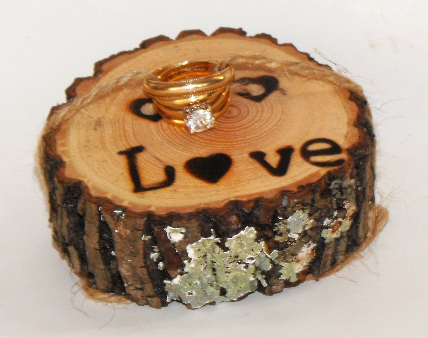 Wood slice Ring Bearer lower case Love burned Wedding Wood Ring Pillow Rustic Country Ring Engagement