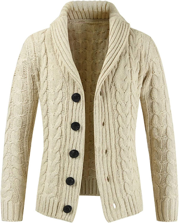 SFE Men Knit Cardigan Sweater Hooded Autumn Long Sleeve Slim-Fit Lapel Soft Warm Long Sweatshirt Coat Windbreaker