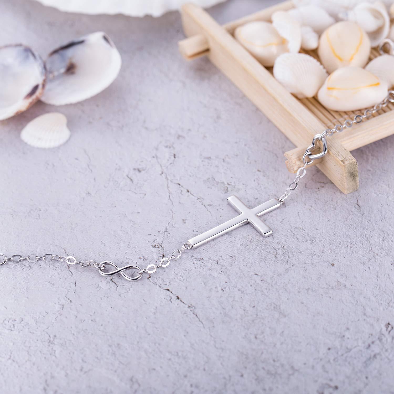BlingGem Religious Cross Bracelet in Good Faith Bracelet 925 Sterling Silver Christian Infinity Classic Baptism Gift for Teen Girls Jewelry for Women by BlingGem (Image #4)