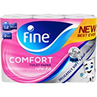 Fine Comfort, Absorbent, Sterilized, Soft, Flushable Toilet Paper, 2 Plies, Pack of 12 Rolls. New & Improved