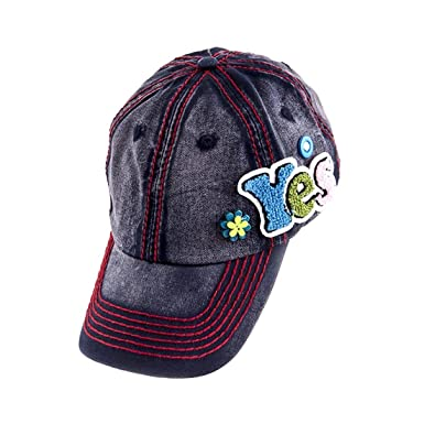 Washed Denim Baseball Cap Hat w Fuzzy YES Accent   Thick Red ... 2d7f14e8643