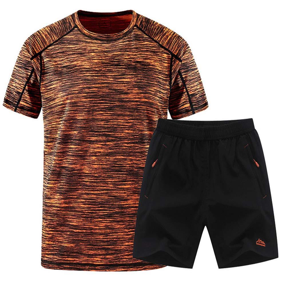 Mens Short Sleeve Shorts Sports Set 2Pcs Quick Dry Fitness Tracksuit Gym