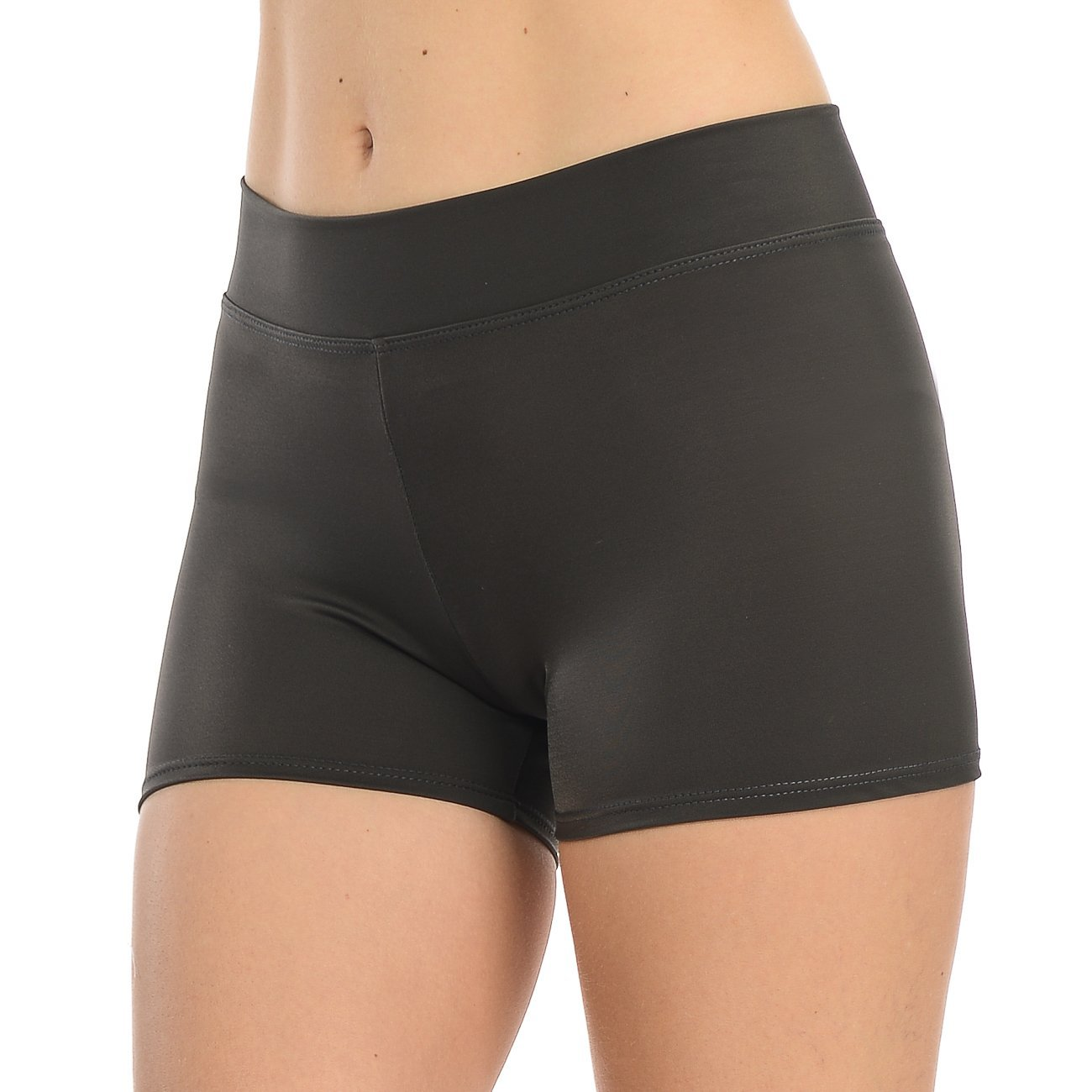 ANZA Girls Active Wear Dance Booty Shorts-Charcoal,X-Small(2/4) by Anza Collection