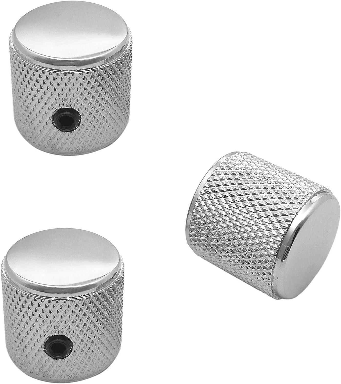 Dia Chrome Set of 3 Knurled Potentiometer Dome Knob Shaft Pots 6.4mm Telecaster//Precision Bass Control Knobs with 1//4