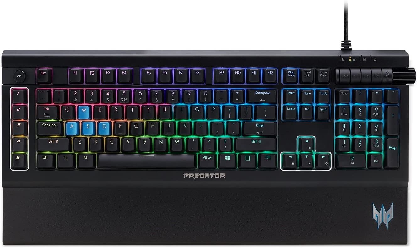 Acer PKB810 Predator Aethon 500 RGB Mechanical Kailh Blue Switch Gaming Keyboard with 100% Anti-Ghosting, All-Key Rollover,Black