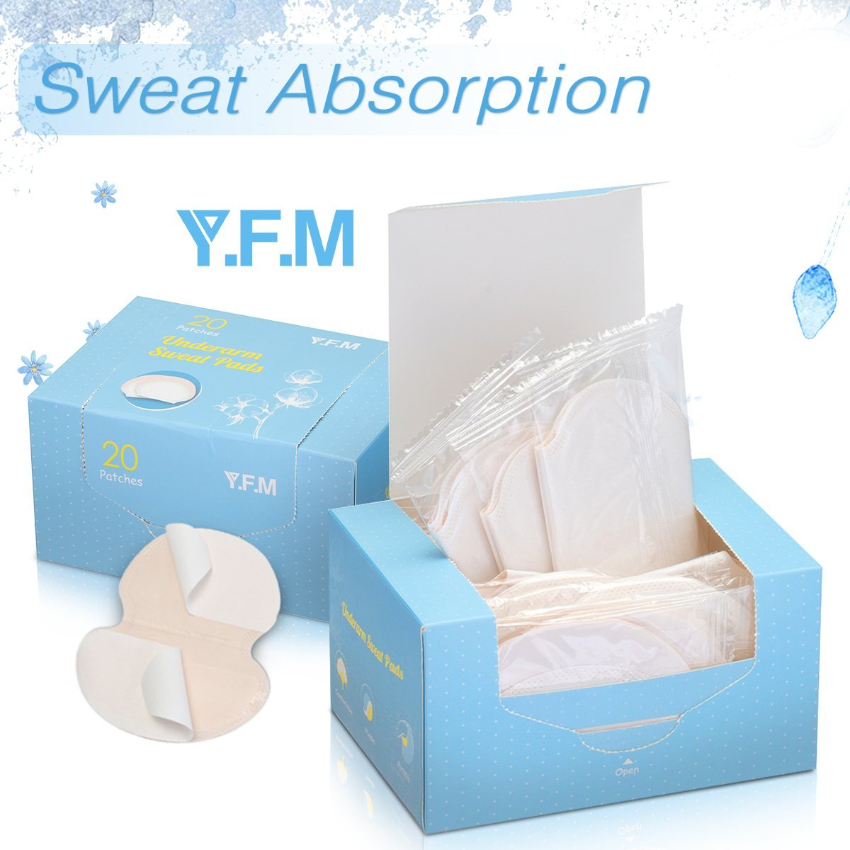 Underarm Sweat Pads, Y.F.M Underarm Antiperspirant Sticker Absorbing Sweat Pads non-woven fabric Disposable Shield Dress Shields Sweat Guard for Women and Men [40 Pack/20 Pairs] by Y.F.M (Image #1)