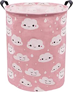 Extra Large Toy Bin Pink Cloud Canvas Fabric Toys Storage Basket, ZUEXT Girls Laundry Hamper, Waterproof Gift Basket with Handles for Baby Nursery College Dorms Kids Bedroom Bathroom