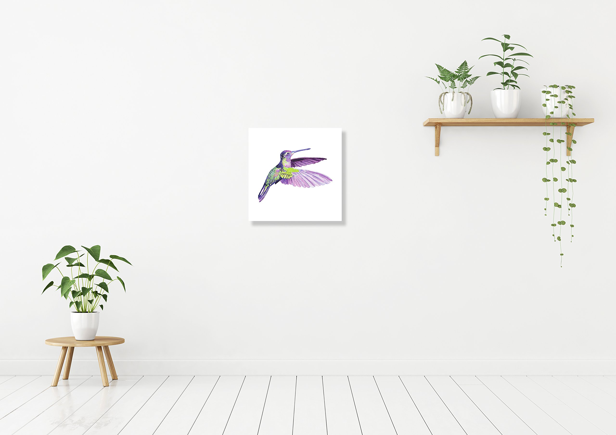 Hummingbird Home Wall Shelf Decor Animal Decorations Watercolor Square Sign - 9x9, Plastic by iCandy Products Inc (Image #2)