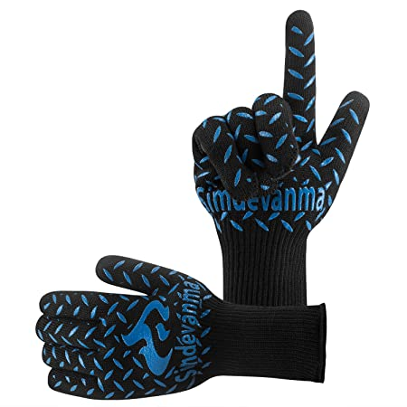 simdevanma Oven Gloves Heat Resistant Cooking Mitts-BBQ Grilling Big Green Egg- Fireplace Accessories and Welding,Cut Resistant and Forearm Protection with High Performance Heat Resistance,XL(blue)