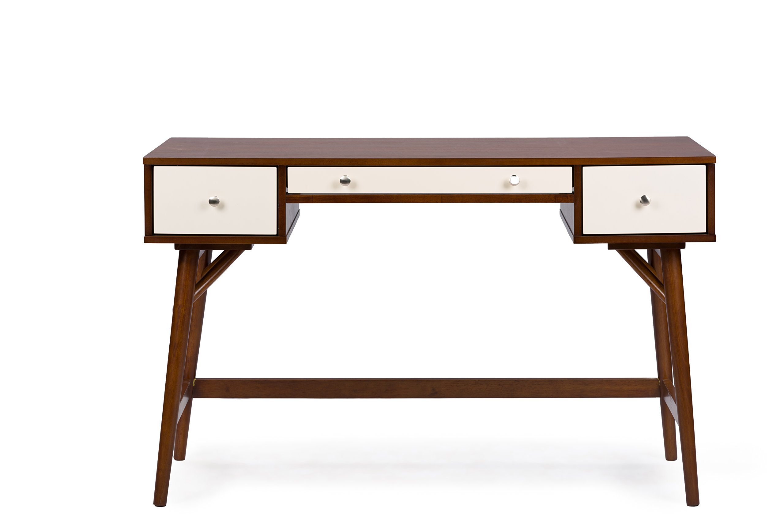 Baxton Studio Dunkirk Modern Desk, Walnut/Cream