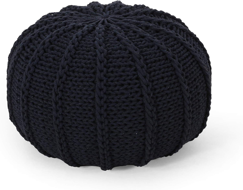 Christopher Knight Home Corisande Modern Knitted Cotton Round Pouf, Dark Blue